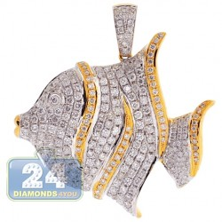 14K Yellow Gold 2.55 ct Diamond Butterfly Fish Womens Pendant