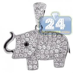Womens Diamond Baby Elephant Pendant 14K White Gold 0.96ct