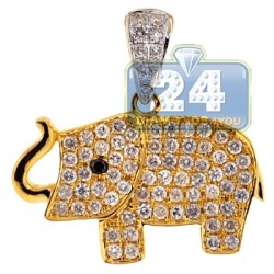 Womens Diamond Baby Elephant Pendant 14K Yellow Gold 0.96ct