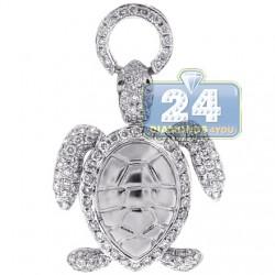 Womens Diamond Sea Turtle Animal Pendant 14K White Gold 0.87ct