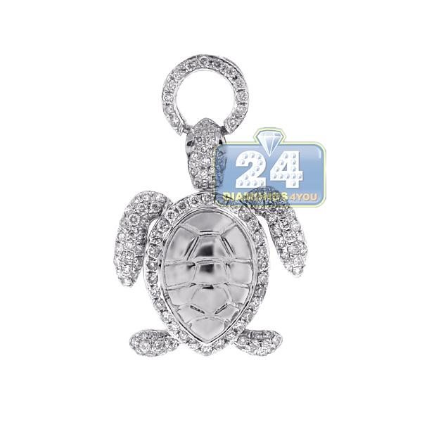 Womens Diamond Sea Turtle Animal Pendant 14k White Gold 0 87ct