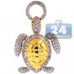 14K Yellow Gold 0.87 ct Diamond Womens Turtle Pendant