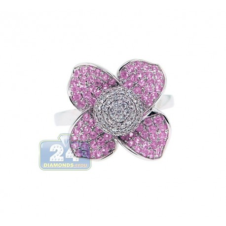 14K White Gold 1.30 ct Diamond Pink Sapphire Flower Cocktail Ring