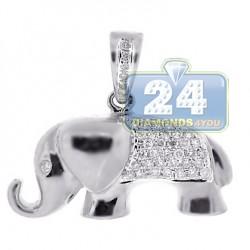 Womens Diamond Elephant Animal Pendant 14K White Gold 0.30ct