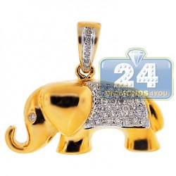 Womens Diamond Elephant Animal Pendant 14K Yellow Gold 0.30ct