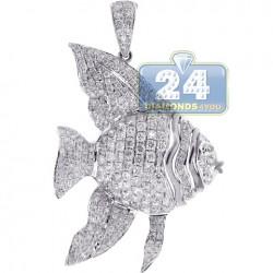 Womens Diamond Angelfish Fish Pendant 14K White Gold 1.86ct