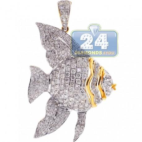 Womens Diamond Angelfish Fish Pendant 14K Yellow Gold 1.86ct
