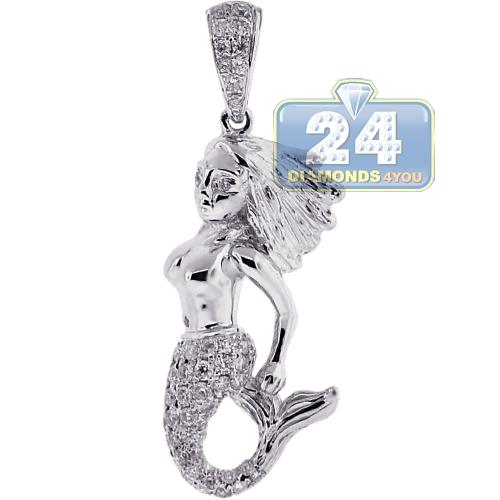 Womens diamond mermaid human fish pendant 14k white gold 066ct aloadofball Choice Image