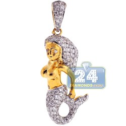 14K Yellow Gold 1.02 ct Diamond Womens Mermaid Pendant