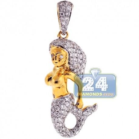 Womens Diamond Mermaid Creature Pendant 14K Yellow Gold 1.02ct