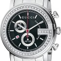 Gucci G-Chrono Diamond Black Steel Mens Watch YA101324
