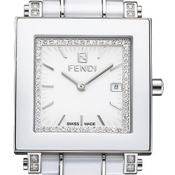 F622140DDC Fendi White Ceramic Square Diamond Dial Watch 32mm
