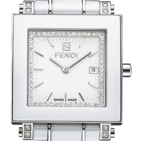 Fendi White Ceramic Diamond Square Womens Watch F622140DDC