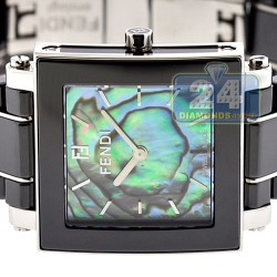 F625110 Fendi Black Ceramic Square Abalone Dial Womens Watch