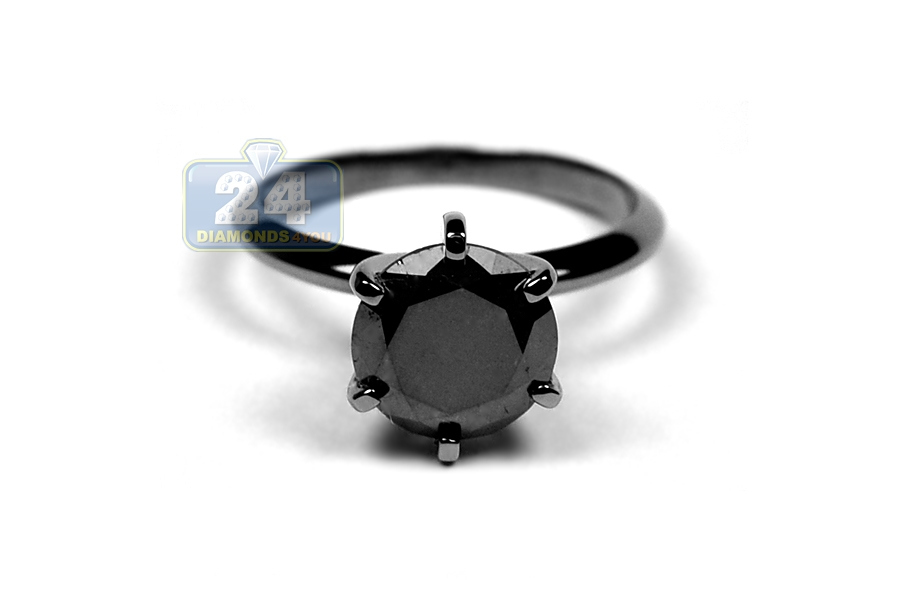 14K Gold 302 ct Black Diamond Womens Solitaire Engagement Ring