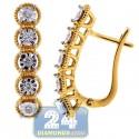18K Two Tone Gold 0.21 ct Diamond Illusion Womens Earrings