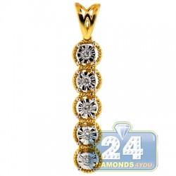 18K Yellow Gold 0.11 ct Diamond Womens Illusion Dangle Pendant