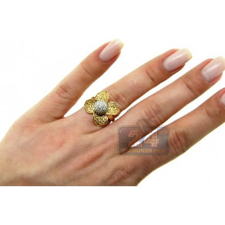 14K Yellow Gold 1.38 ct Diamond Yellow Sapphire Womens Flower Ring