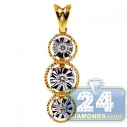 18K Two Tone Gold 0.19 ct Diamond Womens Illusion Pendant