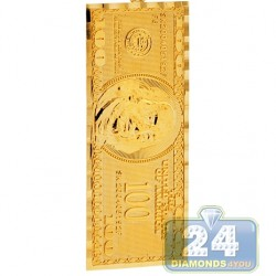 Solid 10K Yellow Gold One Hundred Dollars Bill Mens Pendant