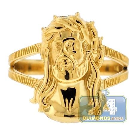 10K Yellow Gold Jesus Christ Head Womens Ring