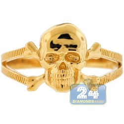 10K Yellow Gold Skull Bones Womens Ring