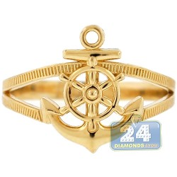 10K Yellow Gold Anchor & Wheel Womens Ring