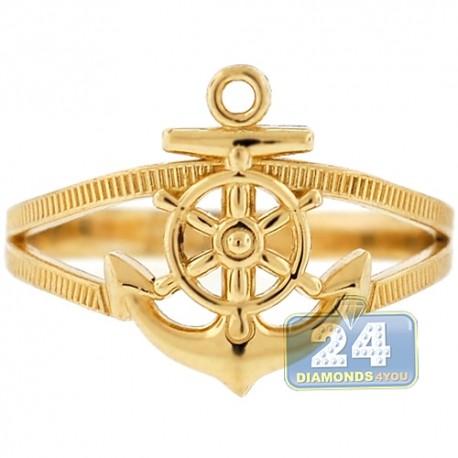 10K Yellow Gold Anchor & Wheel Womens Ring