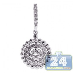 18K White Gold 0.59 ct Diamond Double Halo Drop Pendant