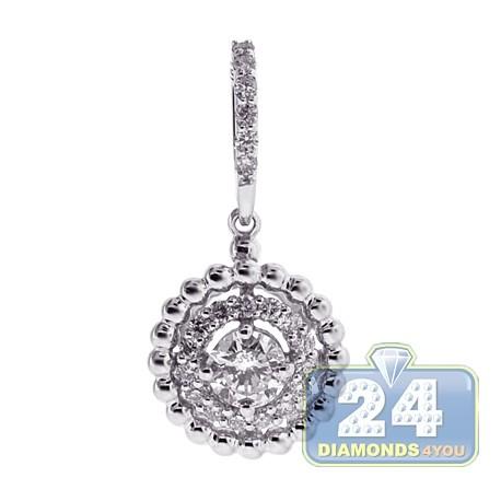 Womens Diamond Double Halo Drop Pendant 18K White Gold 0.59ct