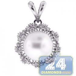 Womens Diamond 12mm Pearl Drop Pendant 18K White Gold 1.15ct