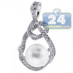 Womens Diamond 12mm Pearl Drop Pendant 18K White Gold 1.18ct