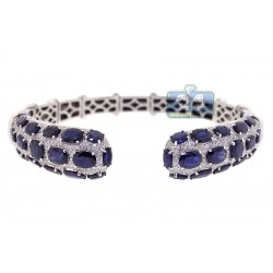 18K White Gold 24.23 ct Diamond Blue Sapphire Cuff Bracelet