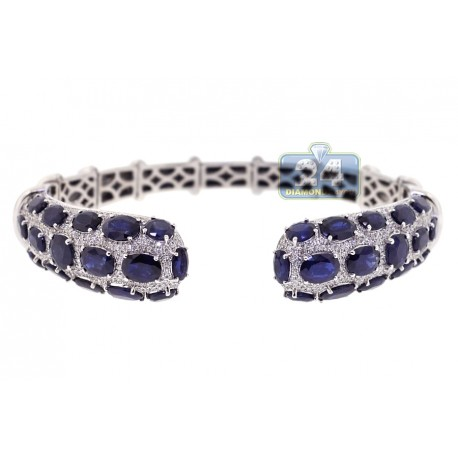 Womens Diamond Blue Sapphire Cuff Bracelet 18K White Gold 8.5 inch