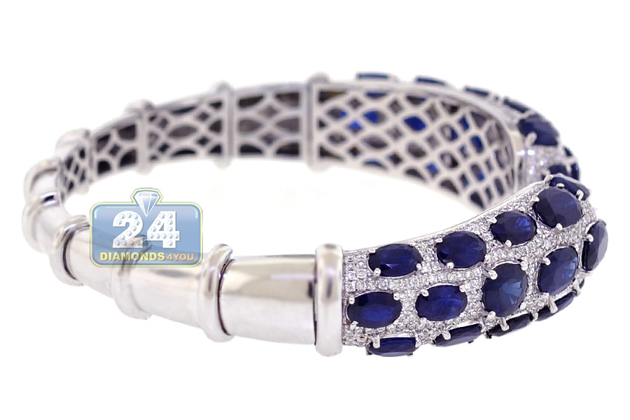Womens Diamond Blue Sapphire Cuff Bracelet 18k White Gold