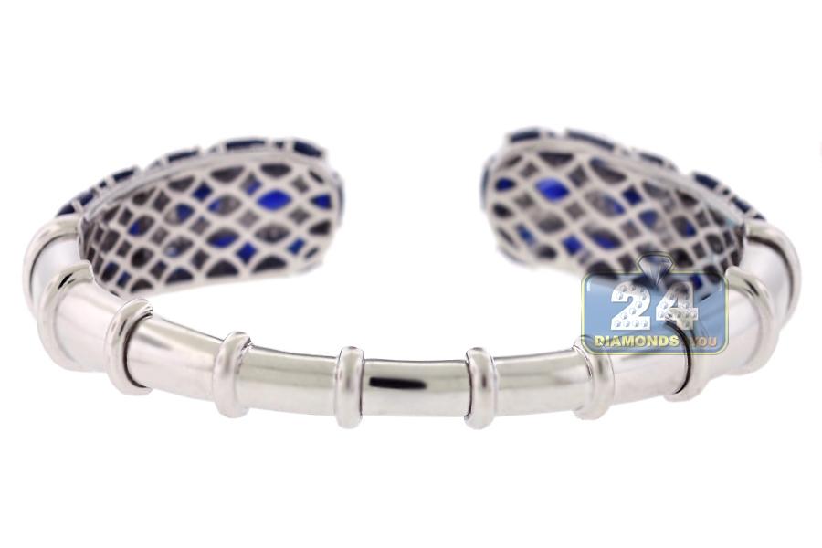 a97f3d10caf Womens Diamond Blue Sapphire Cuff Bracelet 18K White Gold 8.5 inch