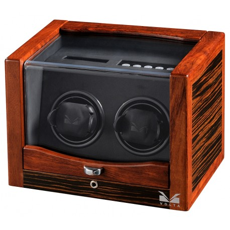 Double Watch Winder Box 31-560022 Volta Rustic Ebony Rosewood
