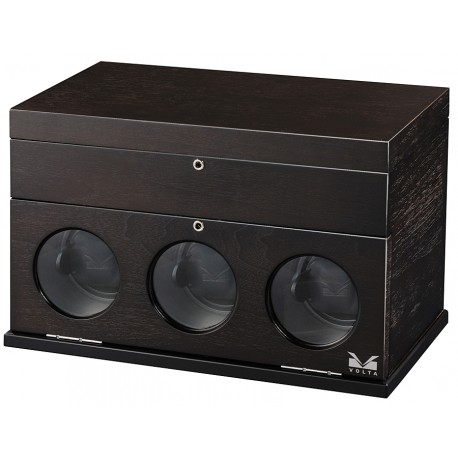 Triple Watch Winder Box 31-560031 Volta Belleview Rustic Brown