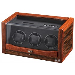 Triple Watch Winder Box 31-560032 Volta Rustic Ebony Rosewood