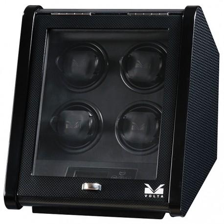 Quad Watch Winder Box 31-560045 Volta Signature Slanted Carbon Fiber