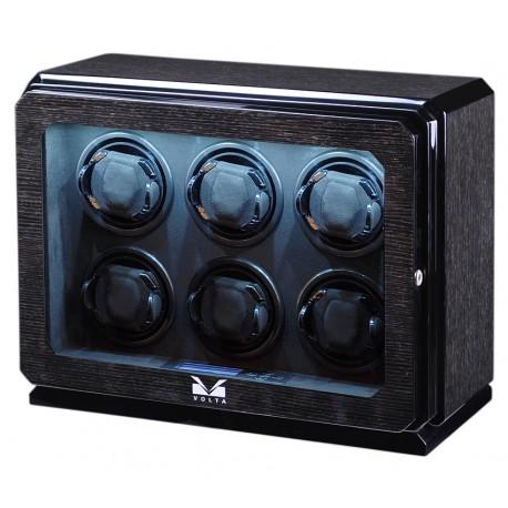 Six Watch Winder Box 31-570060 Volta Roadster Black Oak
