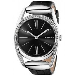 Gucci Horsebit Diamond Black Leather Womens Watch YA139403