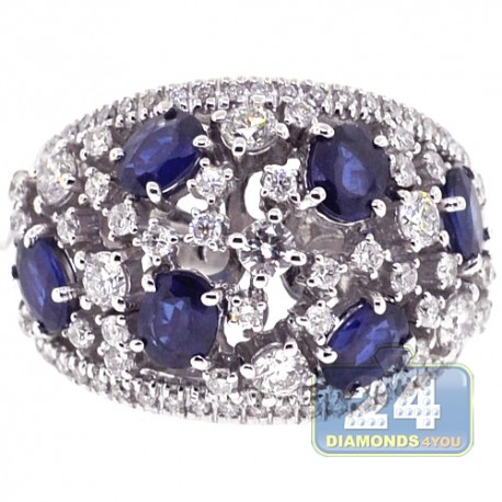 Womens Diamond Blue Sapphire Cluster Band Ring 18K Gold 3.54 ct
