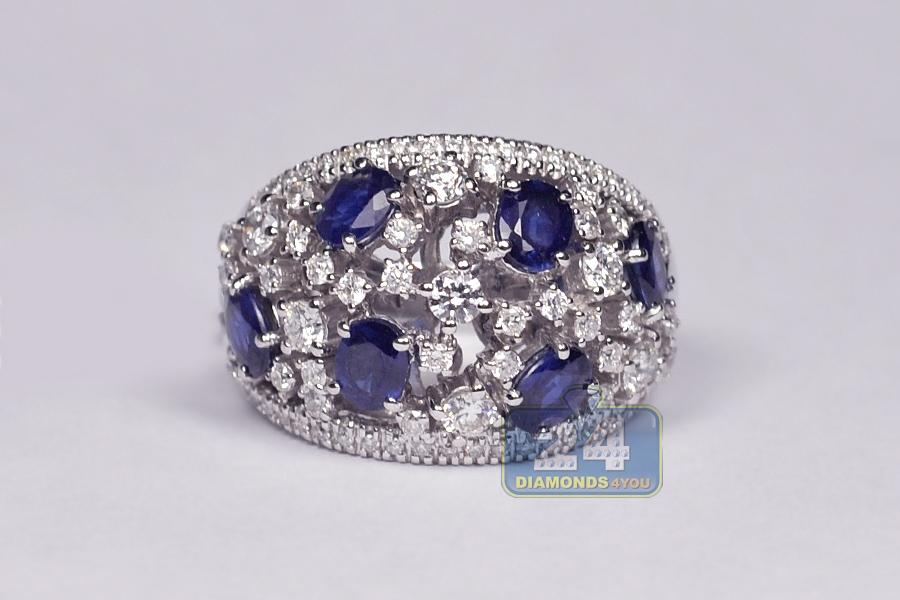 womens diamond blue sapphire cluster band ring 18k gold 3