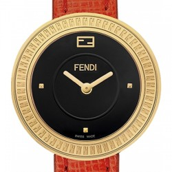F350421073 Fendi My Way Yellow Gold Red Leather 28 mm Watch