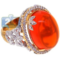 18K Yellow Gold 13.95 ct Diamond Fire Opal Womens Ring