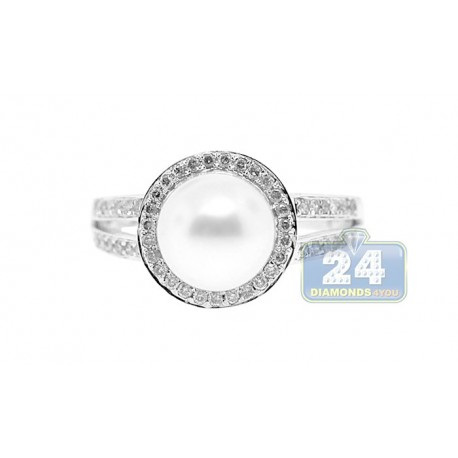 14K White Gold 5 ct Halo Diamond Pearl Womens Solitaire Ring