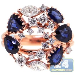 18K Rose Gold 4.31 ct Diamond Blue Sapphire Womens Ring