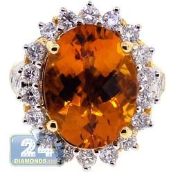 18K Yellow Gold 10.55 ct Diamond Fire Opal Womens Ring