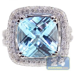14K White Gold 10.60 ct Diamond Blue Topaz Womens Ring